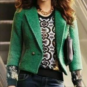 Cabi Green Boucle Wool Blend Fitted Jacket. 532